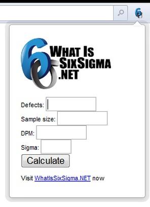 Zrzut ekranu pakietu Six Sigma Calculator