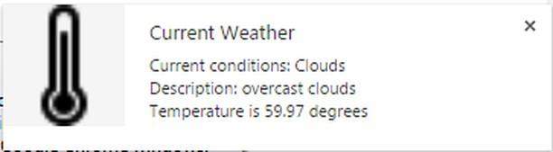 Captura de pantalla para Weather Notifier for Opera