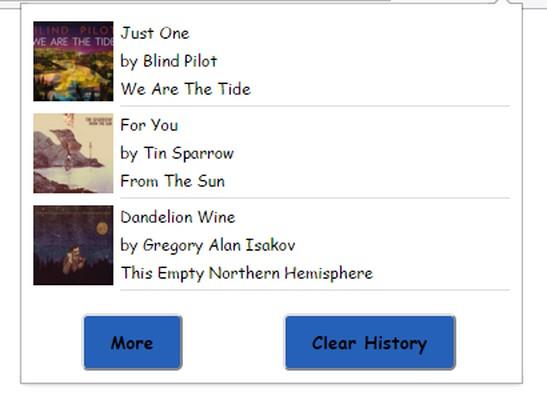 Знімок вікна Pandora History