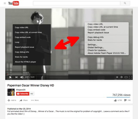 Zrzut ekranu pakietu YouTube™ toggle Flash and HTML Players