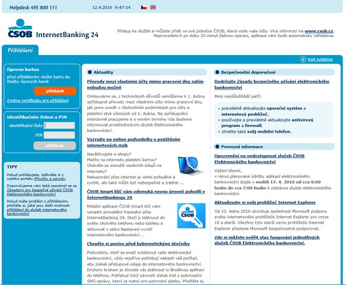 Skärmbilder för ČSOB Electronic Signature