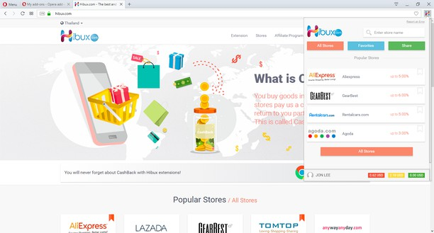 Captura de tela de Hibux.com - The Best CashBack Service