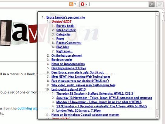 Screenshot di HTML5 Outliner