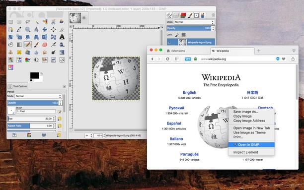 Copie d'écran pour Open in GIMP photo editor