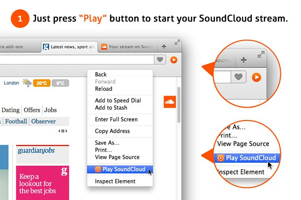 SoundCloud Button extension - Opera add-ons