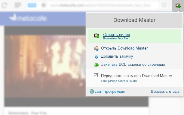 Download Master extension - Opera add-ons