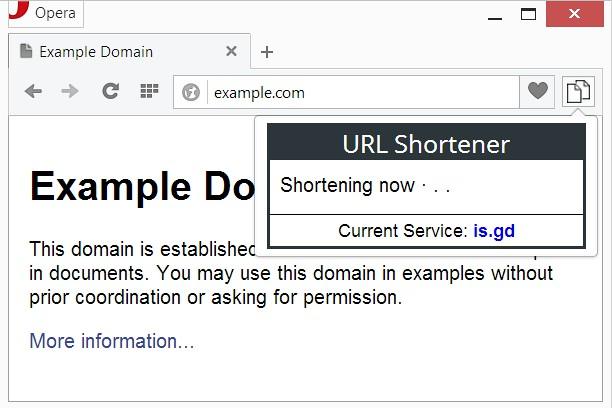URL Shortener extension - Opera add-ons