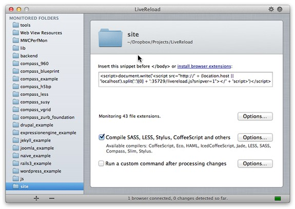 Skærmbillede for LiveReload 2.0.1 (Beta)