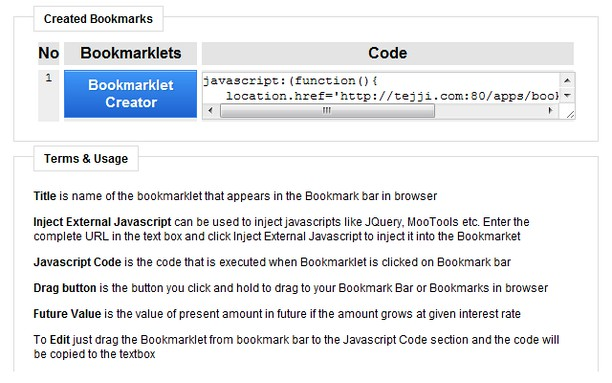 Creating the bookmarklet