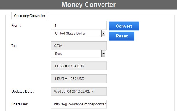 Screenshot For Money Converter
