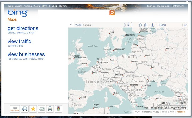 screenshot for bing maps driving directions routes and traffi