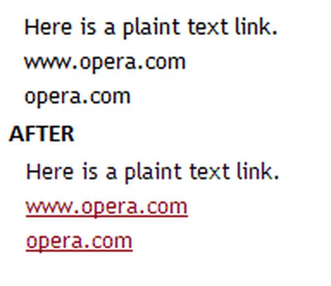 Zrzut ekranu pakietu Linkify For Opera