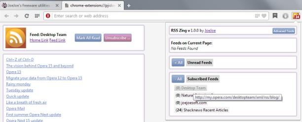 Снимок экрана для RSS Zing