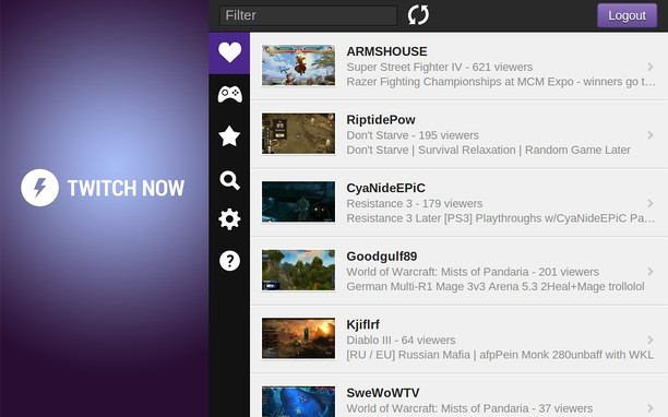 Twitch Now extension - Opera add-ons
