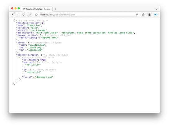 Bildschirmfoto für JSON Lite