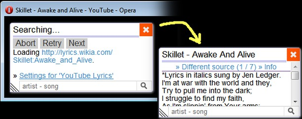 YouTube Lyrics by Rob W extension - Opera add-ons