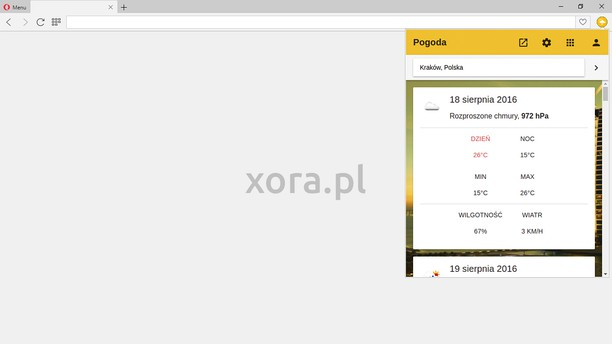 Screenshot for xora.pl, Pogoda