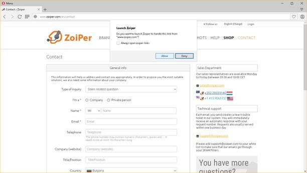 لقطة شاشة Zoiper Click2Dial