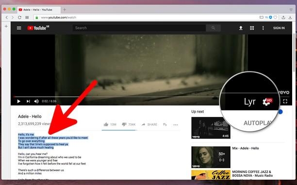 Captura de tela de Lyrics for YouTube