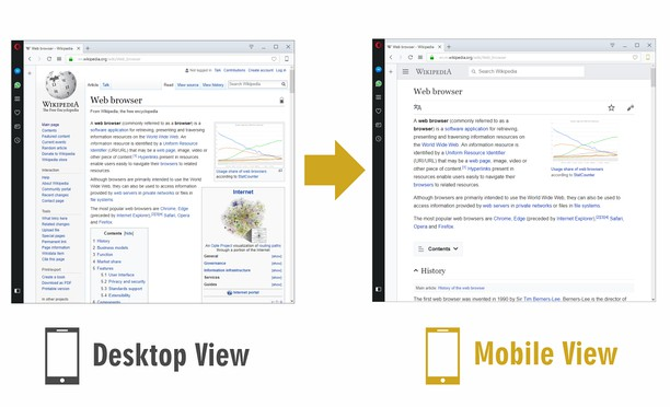 Screenshot for Mobile View Switcher