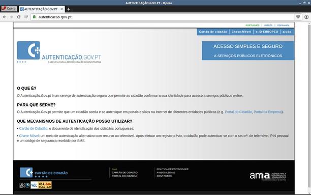 Ảnh chụp màn hình của Autenticação.gov.pt !!PRÉ-PRODUÇÃO!!