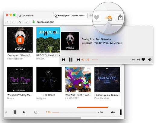 Copie d'écran pour SoundCloud Controls