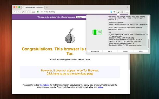 Captura de tela de Tor Control (anonymity layer)