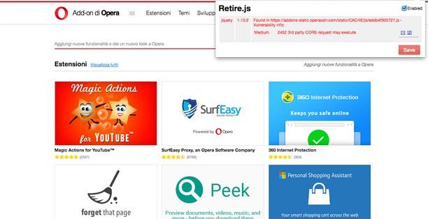 Screenshot di retire.js