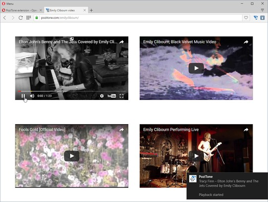 YouTube embedded player   PoziTone module extension - Opera