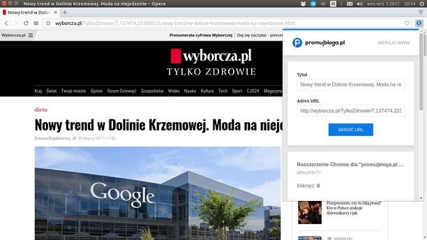 สกรีนช็อตสำหรับ promujbloga.pl - Narzędzia - Skróć URL