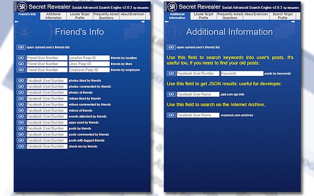 Secret Revealer - social advanced search engine extension
