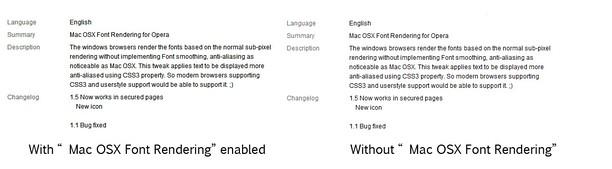 Copie d'écran pour Mac OSX Font Rendering