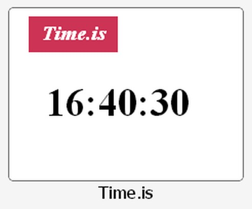 Zrzut ekranu pakietu Time.is - exact time, any time zone
