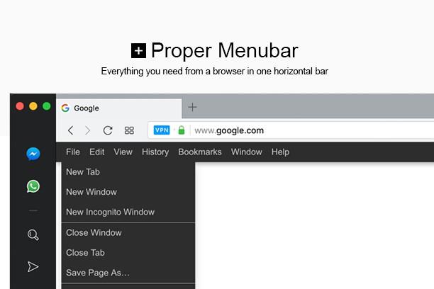 Proper Menubar extension - Opera add-ons