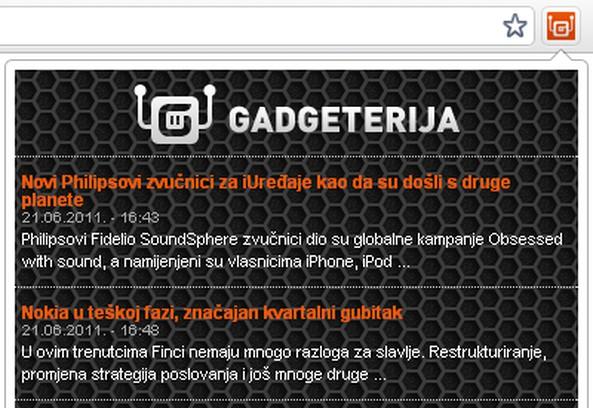 Snimak ekrana za Gadgeterija