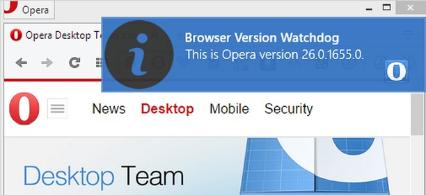 Zrzut ekranu pakietu Browser Update Watchdog