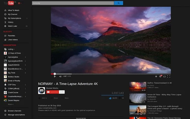 Copie d'écran pour Dark Theme for YouTube™