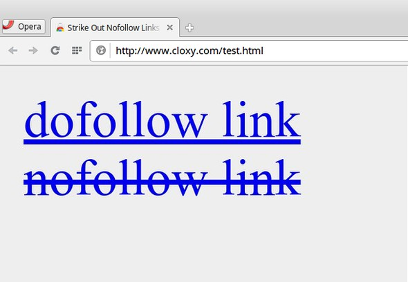 Captura de tela de Strike Out Nofollow Links