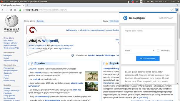 Captura de pantalla para promujbloga.pl - Narzędzia - Szybkie notatki