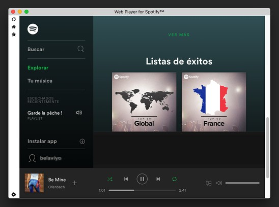 Copie d'écran pour Web Player for Spotify™