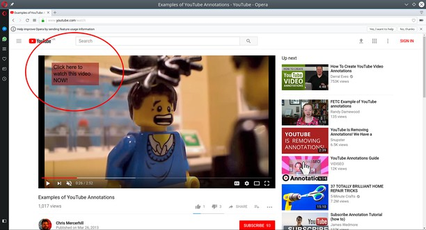 Copie d'écran pour Youtube's Annotations No More