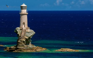 Lighthouse Tourlitis, in Andros island ikonja